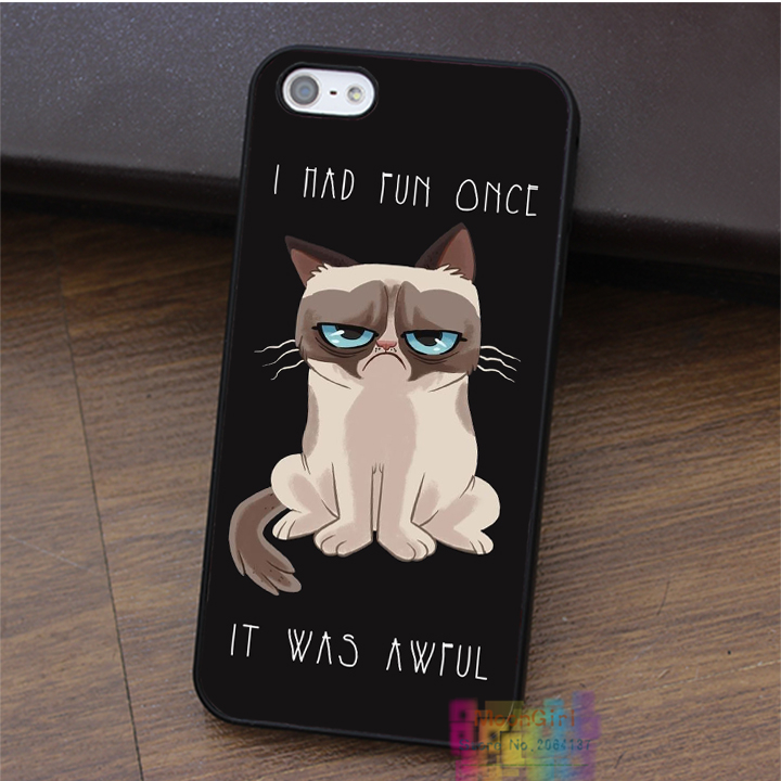 Grumpy Cat Quotes I Had Fun It Was Awful fashion cell phone case for iphone 4 4s 5 5s 5c SE 6 6s & 6 plus & 6s plus #LI1262(China (Mainland))