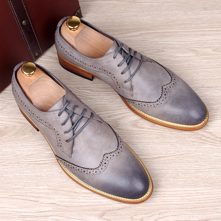 fashion men's carved genuine leather brogue shoes man oxford bullock flats shoe vintage lace casual business gentle dress - Miyado store