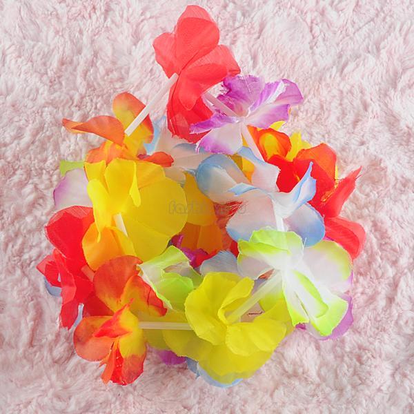 ES0933 10pcs/lot simulated silk leis hawaiian luau party favor fancy dress petal lei supplies(China (Mainland))
