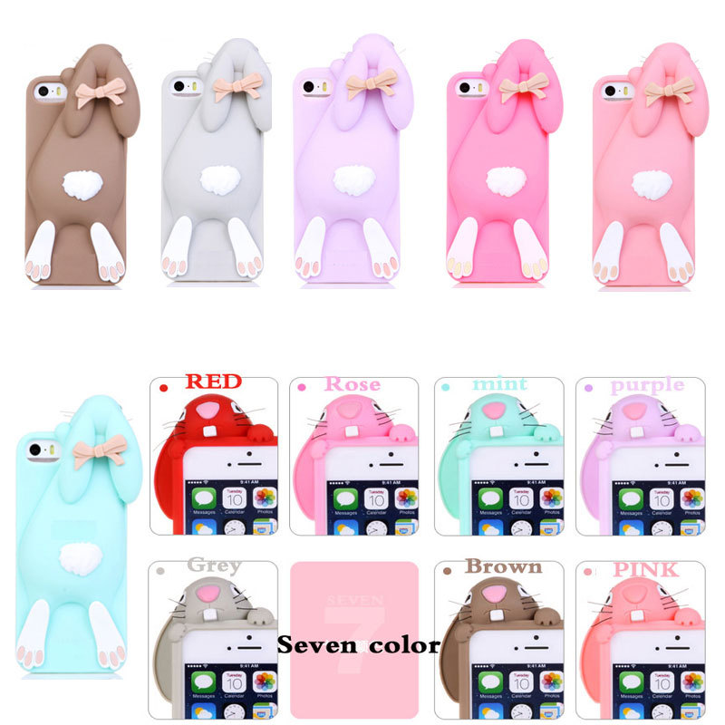 "case cover Cartoon 3D Soft Cute Silicone Rabbit Case For iPhone 5 5S SE 4 4S 6 6S Plus 4.7"" 5.5"" Lovely Rabito Phone Back Cover(China (Mainland))"