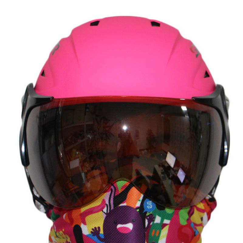 Dropshipping Free shipping new winter anti-fog helmet with visor ski snow helmet athletic product safety pink skating helmet(China (Mainland))