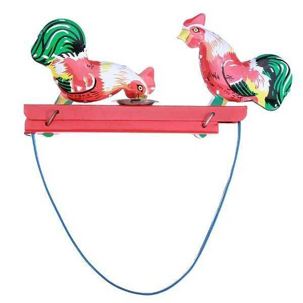 Byrdee Vintage Toy Tin Rooster Peck Working Condition Antique Tin Toy(China (Mainland))