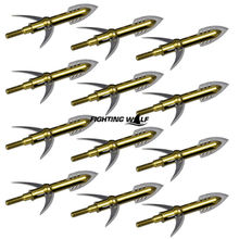 1PCS 100 Grain Golden Stainless Steel Arrow Heads 2 Expandable Blade Archery Broadheads for Outdoor Hunting