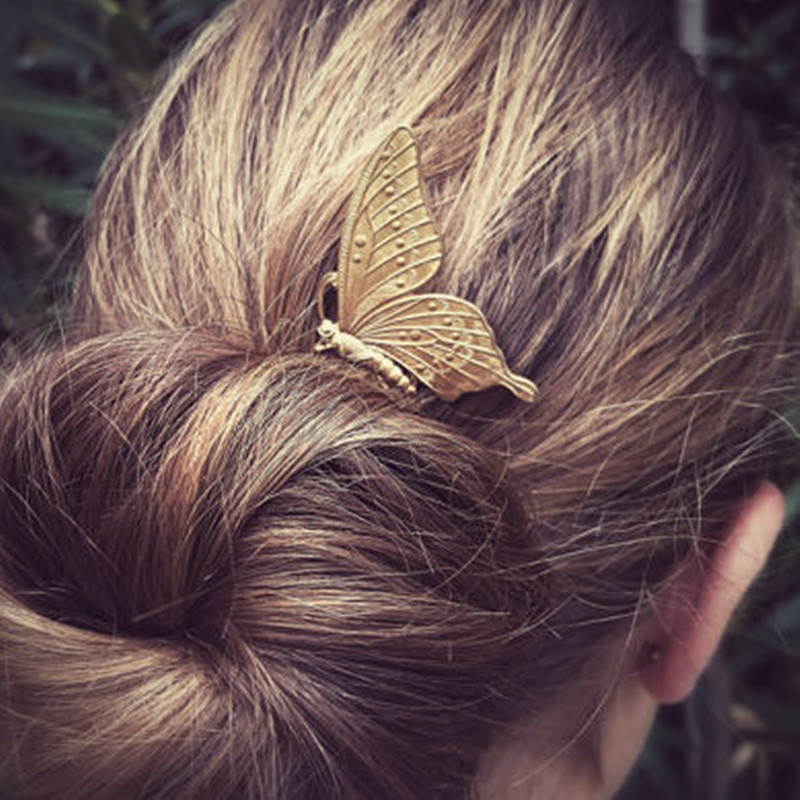 New European Vintage Hair Pins Women's Hair Accessories Metel Butterfly Hair Sticks(China (Mainland))