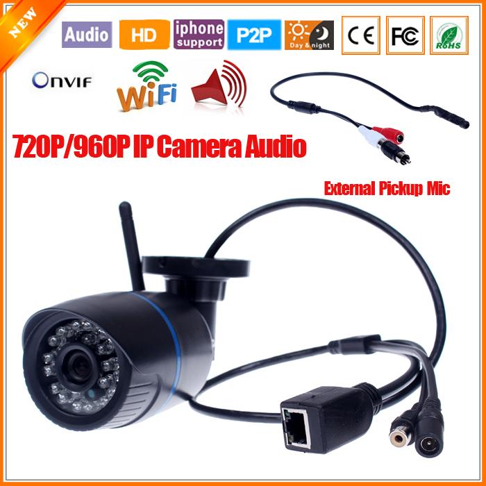 ABS Plastic Audio IP Camera Wifi 802.11b/g/n Wireless Camera Bullet Waterproof Camera IP Outdoor With External Pickup(China (Mainland))