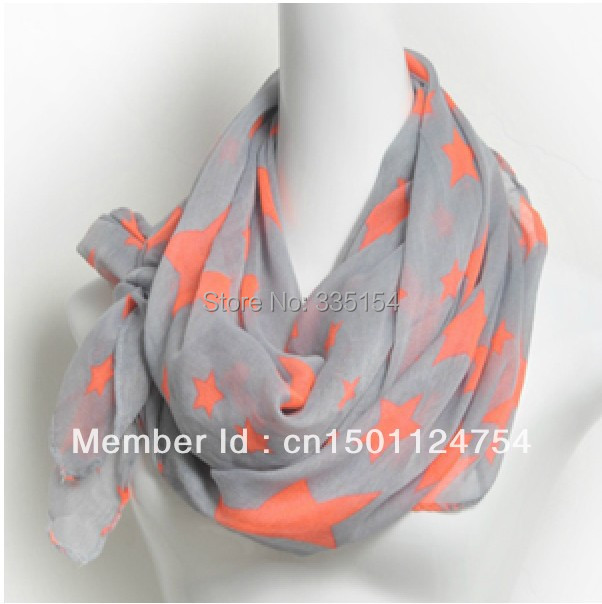 2014 Women Coral Star Printed Voile Scarf Neon Voile Scarf Spring Big Size Shawl Wholesale 10pcs/lot FREE SHIPPING