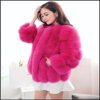 2015 in pelle di alta moda cappotto nuovo inverno erba importato pelliccia di volpe cappotto vestito cappotto di pelliccia corta.  Cappotto di pelliccia 10 colori facoltativi