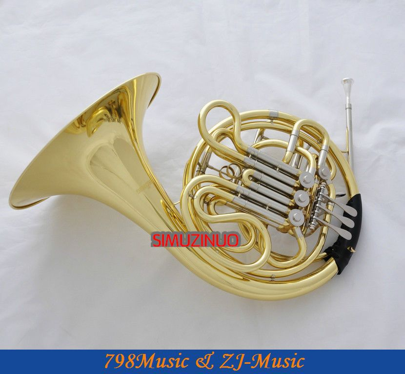 Professional Double French Horn F/Bb Key Gold Cupronicekl Tuning Pipe with Case(China (Mainland))