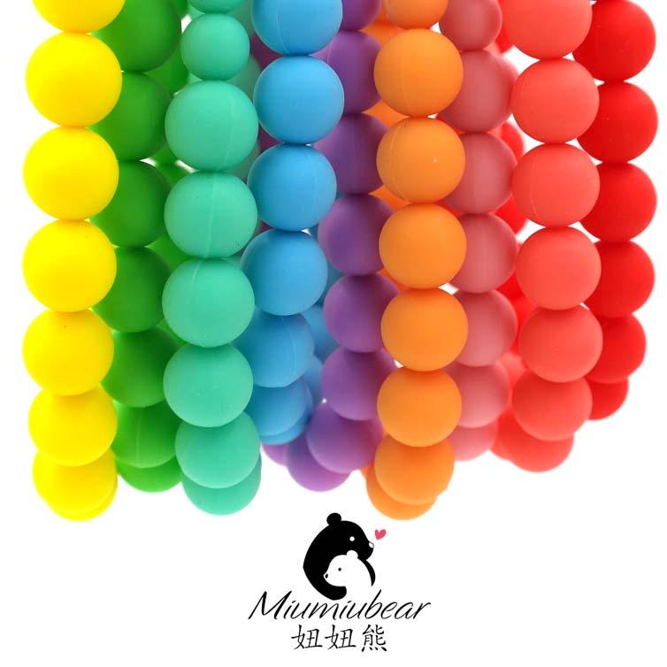 Baby Silicone Teething Necklace - Fully Bead Rainbow Necklace - Chew Necklace - Chewable Necklace - Baby wearing(China (Mainland))