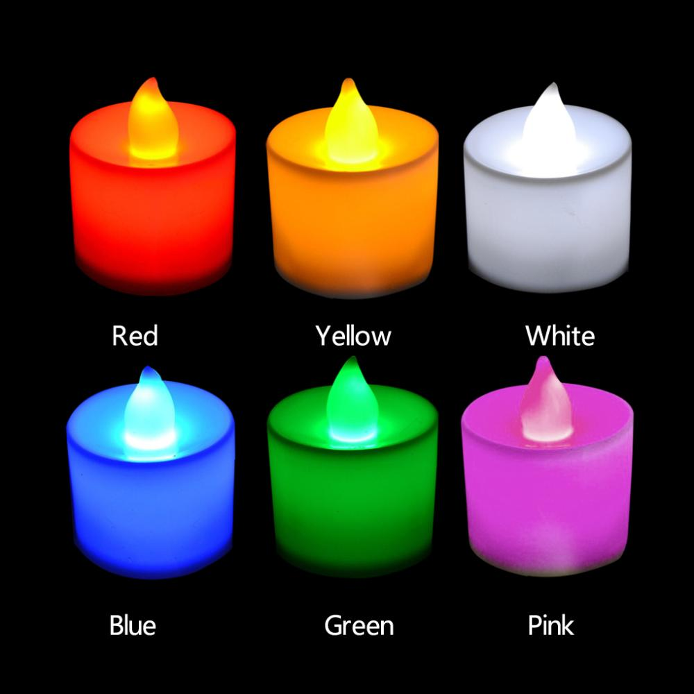 5pcs Convenient Useful 6 Colors Candle Shape LED Fliker Flameless Candle Light For Wedding Party(China (Mainland))