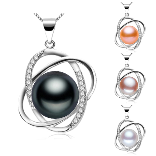 New Fashion 925 Sterling Silver Necklace for Women 10-11mm Freshwater Pearl Jewelry Suspension on the Neck Pearl for Decoration(China (Mainland))