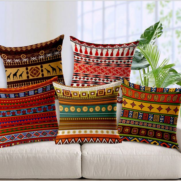 Bohemia Style Linen Square Cushion Cover Printed Decorative Geometry Pillow Case Home Sofa Decor BZT-4(China (Mainland))