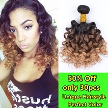 Ombre Hair Extensions Three Tone 1B/4/27 Unprocessed Brazilian Spiral Curly Virgin Hair 3 pieces/lot Human Hair Weave Ombre BSC1
