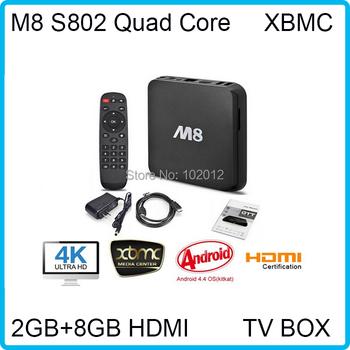 Смарт 1080 P HDMI XBMC полный загружалась DDR3 2 ГБ 8 г M8 TV Box Mail450 Amlogic S802 четырехъядерных процессоров медиа-плеер Bluetooth двойной wi-fi 2.4 г / 5 г
