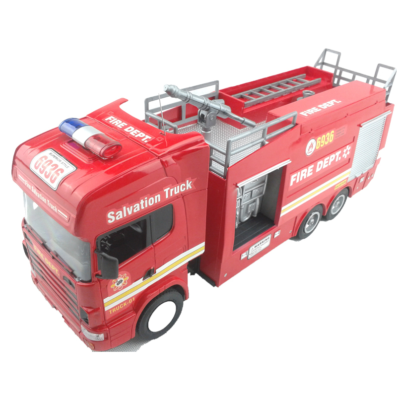 RC Truck Fire Engine Remote Control Fire Salvation Truck Scale 1:18 Fire Fighting Truck Model with spray water electronic toys(China (Mainland))