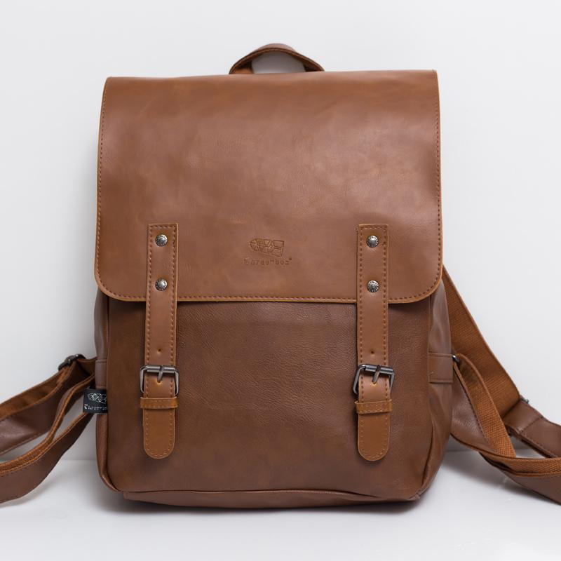 High Quality England Vintage Style Frosted PU Leather Men Backpack For College Preppy Style School Backpack Newest MochilaLI-596