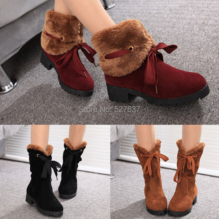 New Fashion Womens Winter Boots Faux Fur Womens Cowboy Boots Casual Ladies Outdoor Warm Snow Boots Shoes(China (Mainland))