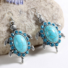 New Fashion Simple Geometric blue gem Bohemia Retro big Turquoise earrings women jewelry charms earring vintage jewelry hot sale(China (Mainland))