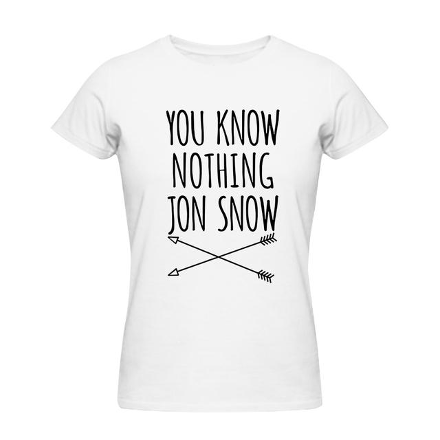 Сексуальные Женщины Лето Футболки Женщины Вы Ничего Не Знаете Джона снег Топ Тройники Игры престолов Футболка Camisetas Коротким Рукавом хлопок