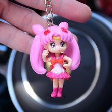 Bonito Bola De Pêlo Pompom Fofo Chaveiro Dos Desenhos Animados Sailor Moon Chave Cadeia de Pele De Coelho Bola Pompom Porte Clef Fofo Chave Anel llaveros(China)