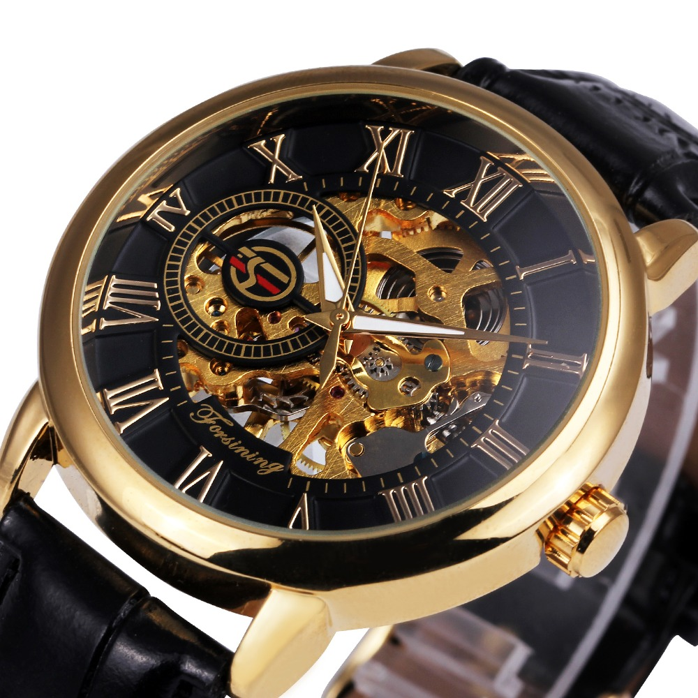 2016 forsining 3d logo royal design black gold men mechanical watch montre homme mens watches. Black Bedroom Furniture Sets. Home Design Ideas