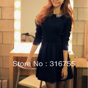 2013 autumn new women Turn collar Full sleeved dress,Korean fashion stitching Slim ladies dress - Lenny Wang's store