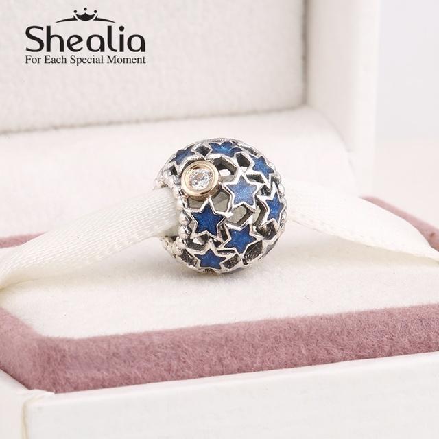 Серебро 925 настоящим золотом голубой эмалью рождественская звезда подвески для женщин браслеты сделай сам ювелирное лучший рождественский подарок