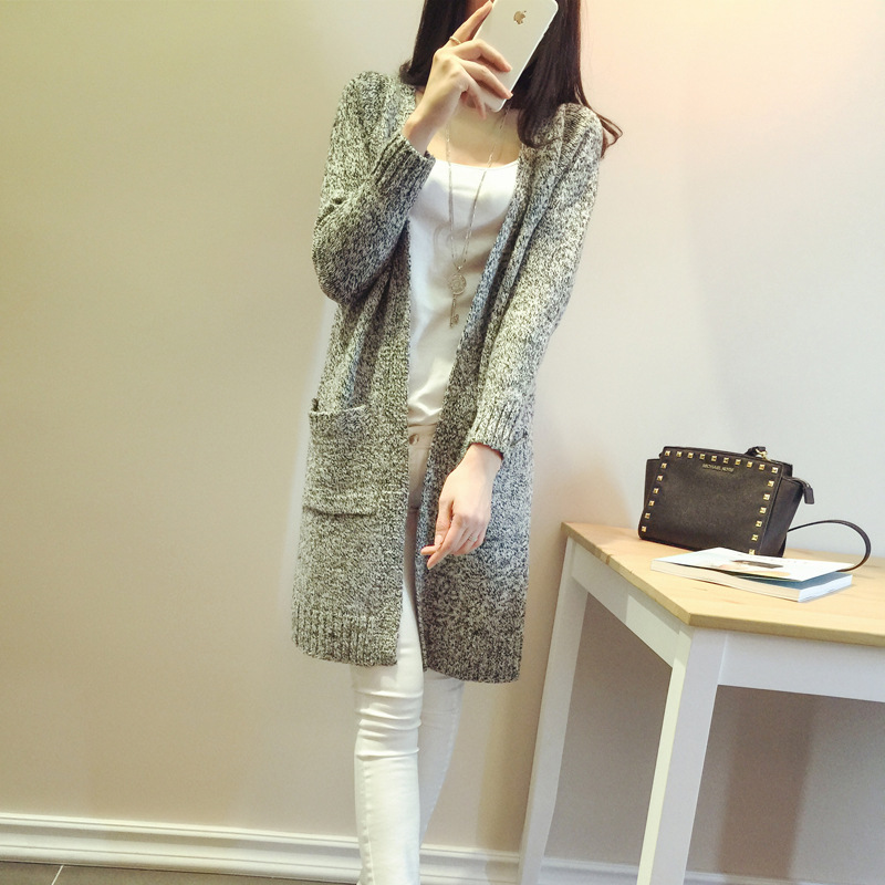 Hot Outwear Sweaters Women 2015 Autumn Winter Thick Long Cardigan Coat Casual Gray Loose Knitted Sweater Chompas Mujer QL1317