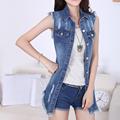 S 5XL women denim vest long waistcoat women s sleeveless jeans jacket spring summer fashion slim