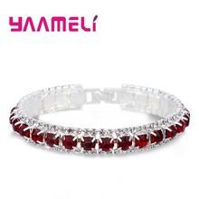 Venda superior 925 prata esterlina pulseiras completo aaa zircon cristal austríaco femme feminino link corrente jóias pulseiras 14 cores(China)