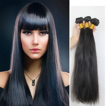 """Natural Cabelo Humano Hair Weft 16"""" - 30"""", Natural Straight, 100g/pcs Natural Color 1B# Pelo Humano Hair Weaving, Free Shipping"""