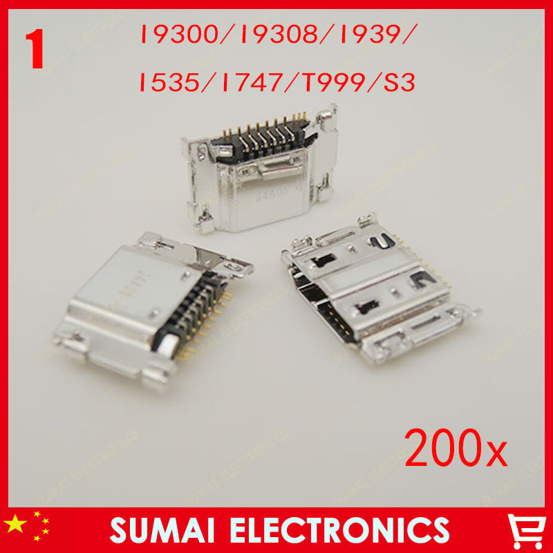 200pcs Original New 11P USB Charging Tail socket,USB Charging Port, USB Jack For Samsung I9300 n9308