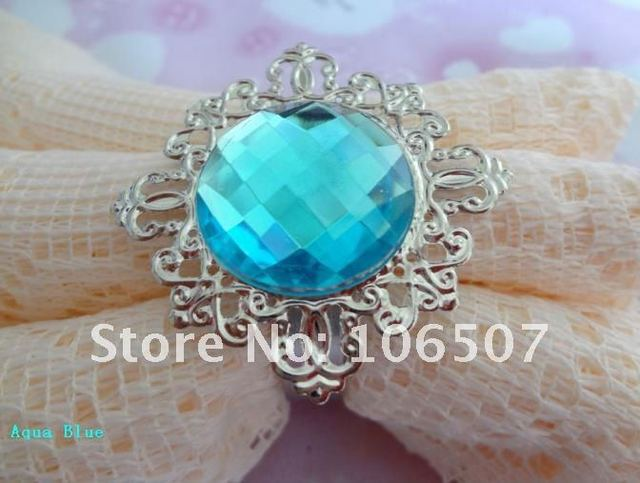 100 Aqua Blue Gem Napkin Ring Wedding Favour Party Decorations