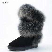 INOE moda stil gerçek mavi tilki kürk kadın yüksek kış kar botları inek süet deri kış ayakkabı daireler siyah gri yüksek kaliteli(China)