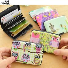 1 PCS Kawaii Cute Cartoon Plastic Bank Credit Card Bag Lovely Fashion Owl ID Card Holder Box Case for Women Men(China (Mainland))