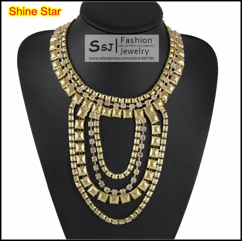 Fashion Gothic Style Multirow Rhinestone Gold Gun black plated chunky Chain Statement Choker bib Necklace Women Jewelry Item,B61(China (Mainland))