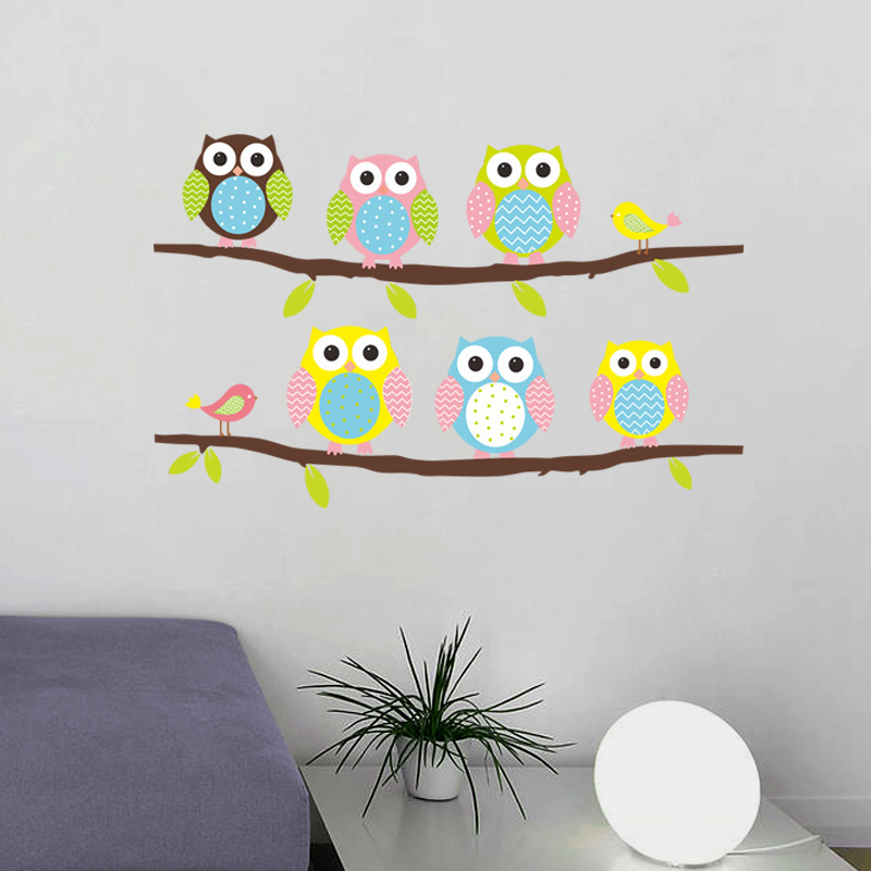 The New Design Cute Owl Branch Wall Sticker for Kids Baby Children's Room Bedroom Home Decor(China (Mainland))
