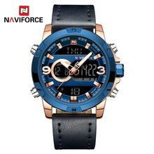 NAVIFORCE zegarek mężczyźni Top marka luksusowe cyfrowy analogowy sportowy zegarek wojskowy ze stali nierdzewnej mężczyzna zegar Relogio Masculino 9093(China)