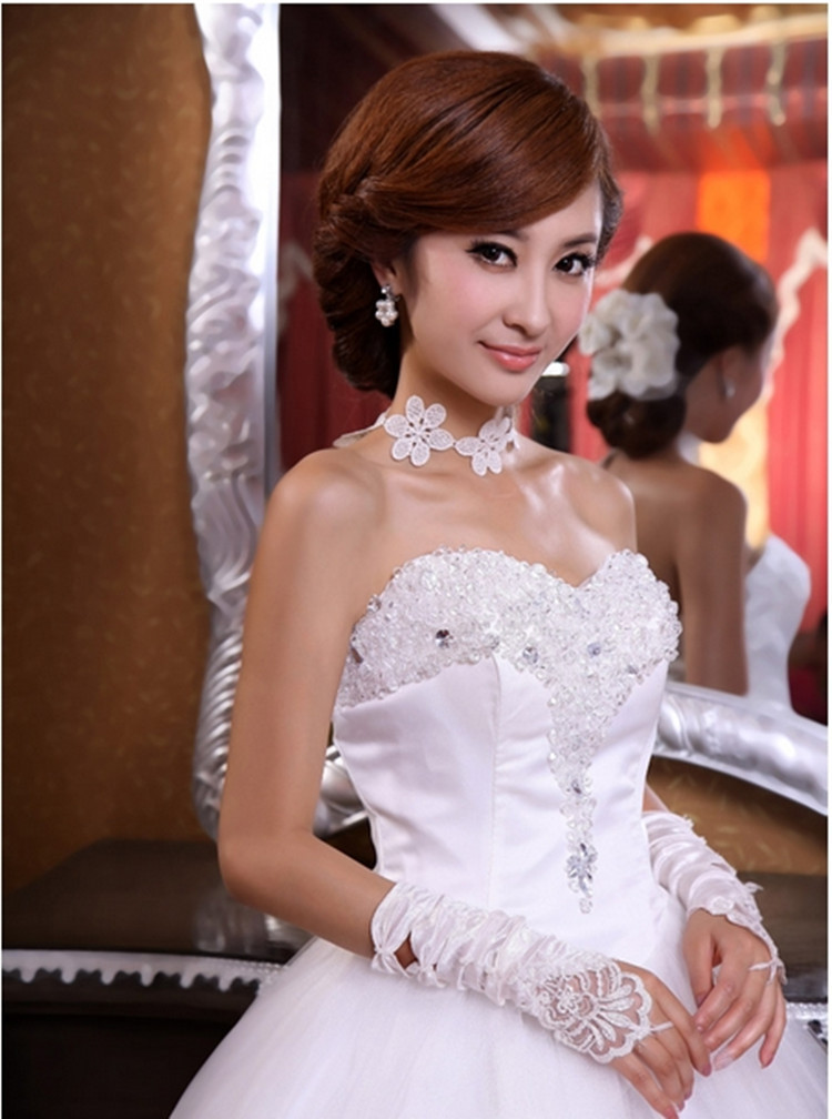 Love wedding dress rhinestone flower bride Sweet lace Lovely High-quality Sexy princess dress Free shipping New style PD0030