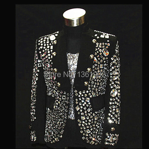 Plus size Custom made black Crystal men's ds dj male singer dancer performance stones outerwear costume rhinestone jacket outfit(China (Mainland))