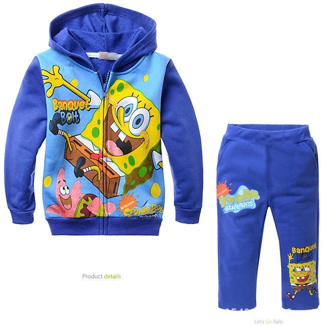 Spongebob Boys Clothing Sets Square Pants Kids Clothes Autumn Winter Coat+pants Blusas Moleton Conjunto Infantil Roupas - A&J Design store