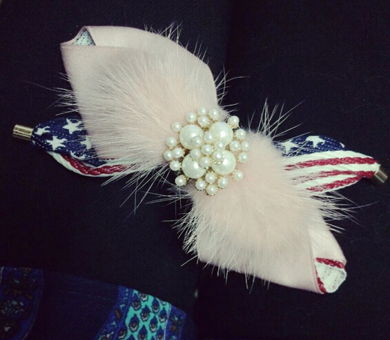 10pcs/lot bowknot flag pink mink fur full pearl flower hair clip fashion spring clip barrette winter styles hair accessory x507(China (Mainland))