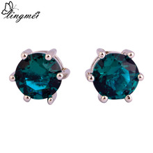 lingmei Wedding Dazzling Style Unisex Forever Love White Topaz Multi-Color Stud Silver Earrings Jewelry Free Ship Wholesale(China (Mainland))