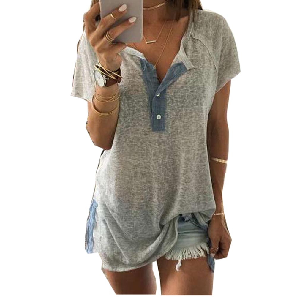 2016 Summer Tops Tees Ladies Short Solid T Shirt Women V