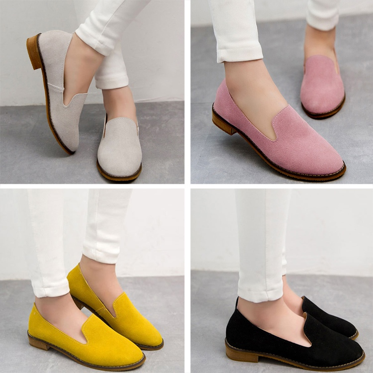 Summer Fashion Casual Ladies Shoes Retro Nubuck leather Flats Shoes Shallow Mouth Single Work Shoes Size 36-39(China (Mainland))