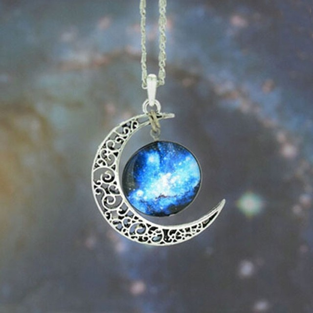 Fashion Jewelry Choker Necklace Glass Galaxy Lovely Pendant