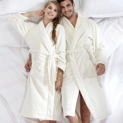 2014 New Autumn/Winter flannel Nightgown thicking lovers coral fleece bathrobe,men/women pajamas, camisolas de dormir(China (Mainland))