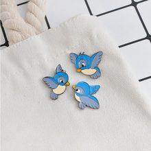 3 pz/set Carino smalto blu pin uccello del fumetto di volo animale spilla camicia di denim fibbia ad ardiglione distintivo regalo per i bambini popolari gioielli(China)