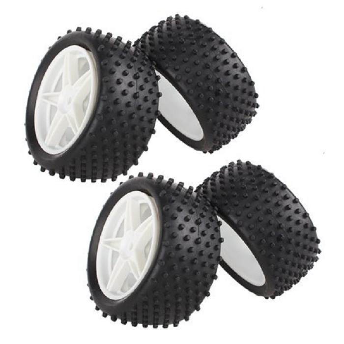 White 1:10 RC Buggy Front Rear Wheel Rim Rubber Tyre Tires 66001-66022 for RC 1:10 Off-Road Car(Pack Of 4 pcs)(China (Mainland))