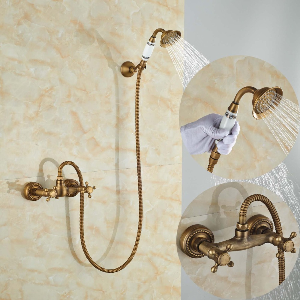 Фотография Two Handle Antique Brass Bathroom Tub Faucet Valve Mixer Tap with Hand Shower Sprayer